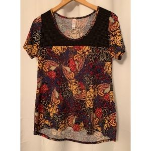 LuLaRoe Floral Classic Tee Size Small Fall Colors